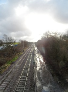 Waterlogged railway - engineers on Bank Holiday overtime in the very distance